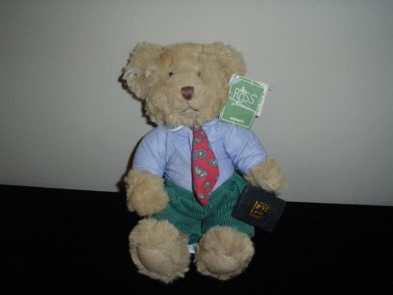 Russ Bears From Past Winston Office Bear Briefcase Tie   3358 Handmade Wtags