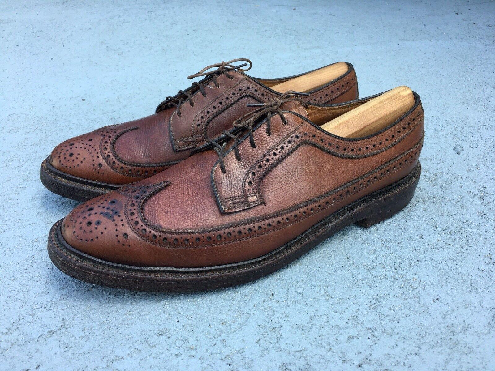 Florsheim Vintage USA Brown Grain Leather 5 Nail V Cleat Long Wingtips SZ 9.5 C