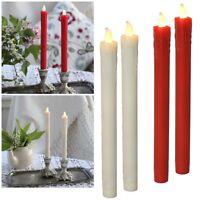 2er Set Led Stab-Kerzen 23x2cm, Echtwachs-Mantel, flammenlose Tafelkerzen candle