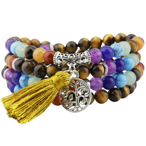7 Chakra Piedra oración budista tibetano 108 Mala Perlas Pulsera//Collar Con Borlas