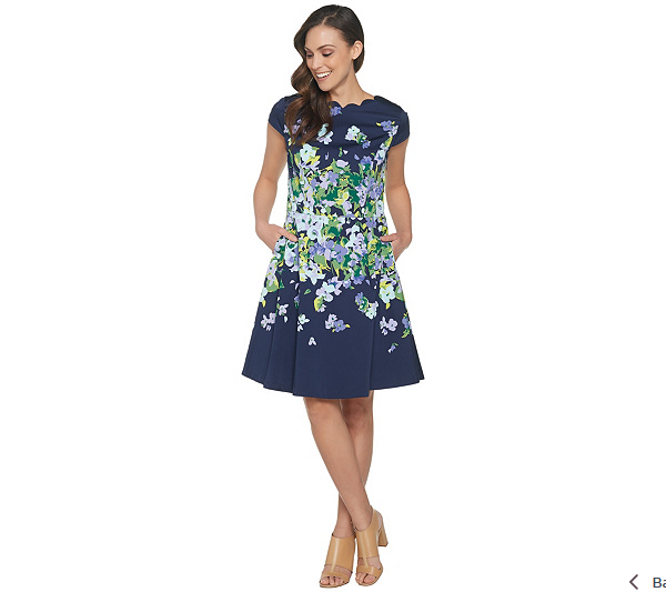 Isaac Isaac Isaac Mizrahi Live  Floral Fit & Flare Dress color Navy Size 10 5a4471