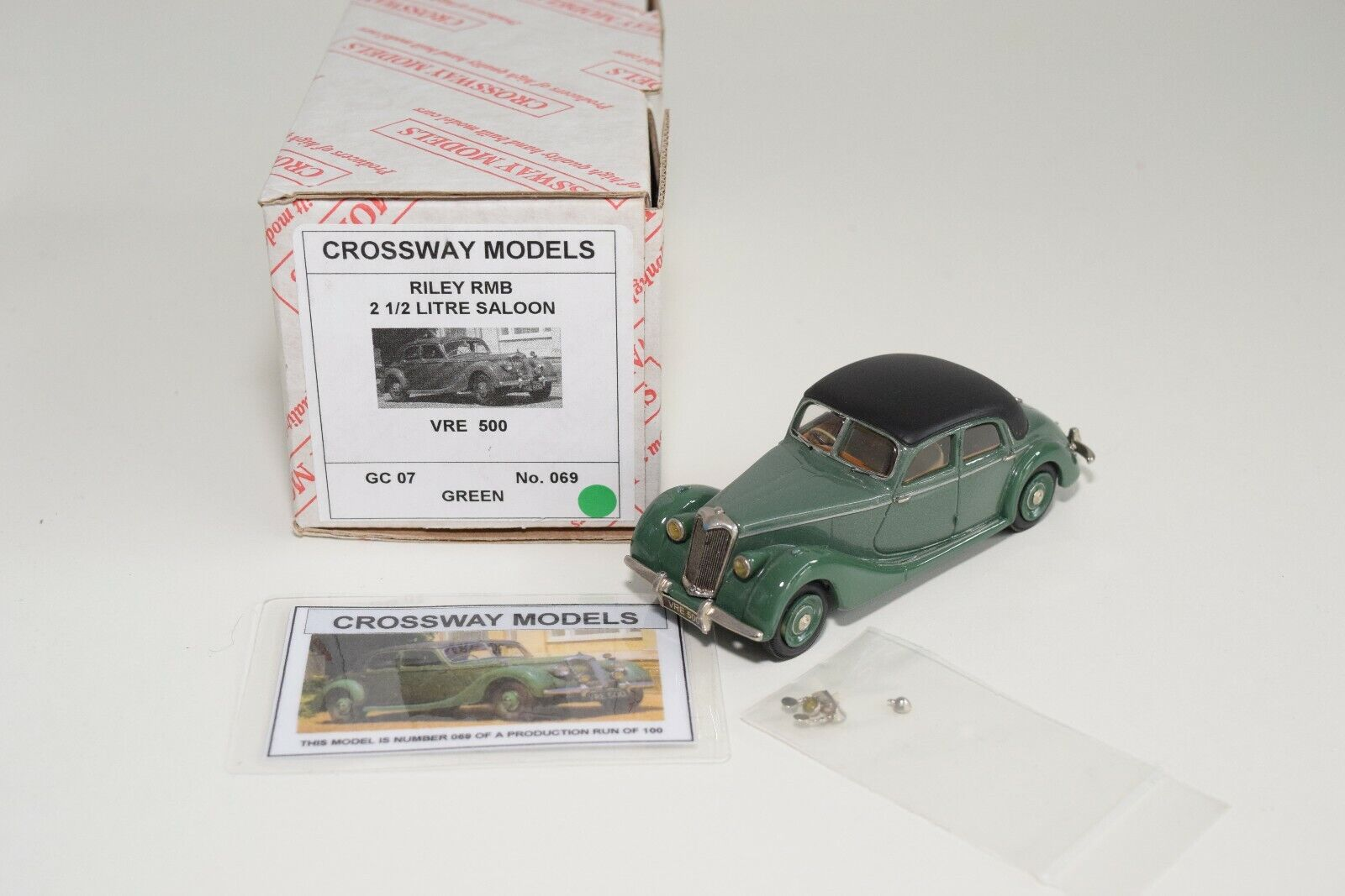 FF 1 43 CROSSWAY MODELS GC07 RILEY RMB 2 1 2 LITRE SALOON verde MIB 69 100 RARE
