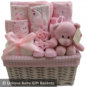 Hospitalnew born essentials with layette set girl baby gift basket image is loading hospital new born essentials with layette set girl negle Image collections