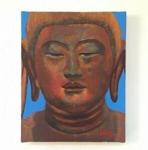 22-27-Japanese-Buddhist-Kannon-God-Oil-Painting-Vintage-Signed-034-INORI-034-V180