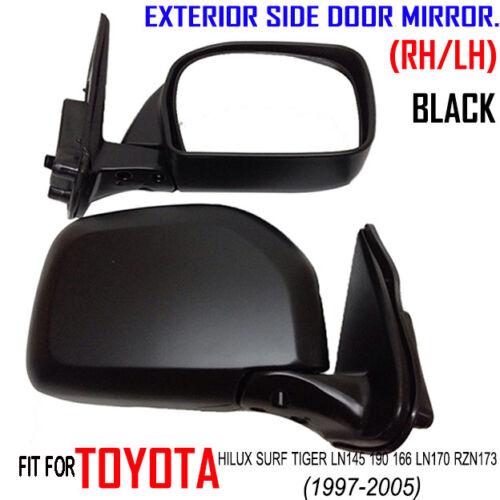 TOYOTA HILUX Surf LN145 LN190 LN166 LN170 97-05/' NEW SET DOOR MIRRORS BLACK PAIR