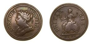Great-Britain-1714-Queen-Anne-1702-14-Pattern-Copper-Farthing-Very-Rare-VF-4996
