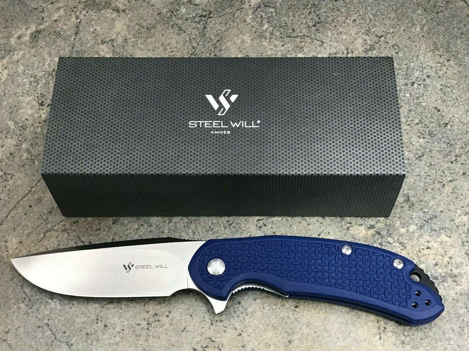 Steel Will Cutjack C22 Folding Knife C22-1BL D2 Steel Blade Linerlock Blue