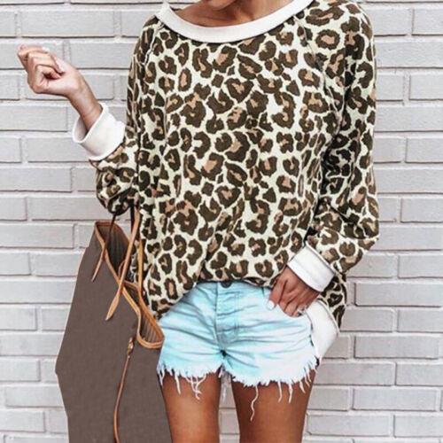 Mode Femme Simple Ample Manche Longue Leopard Shirt Col Rond Haut Tops Plus