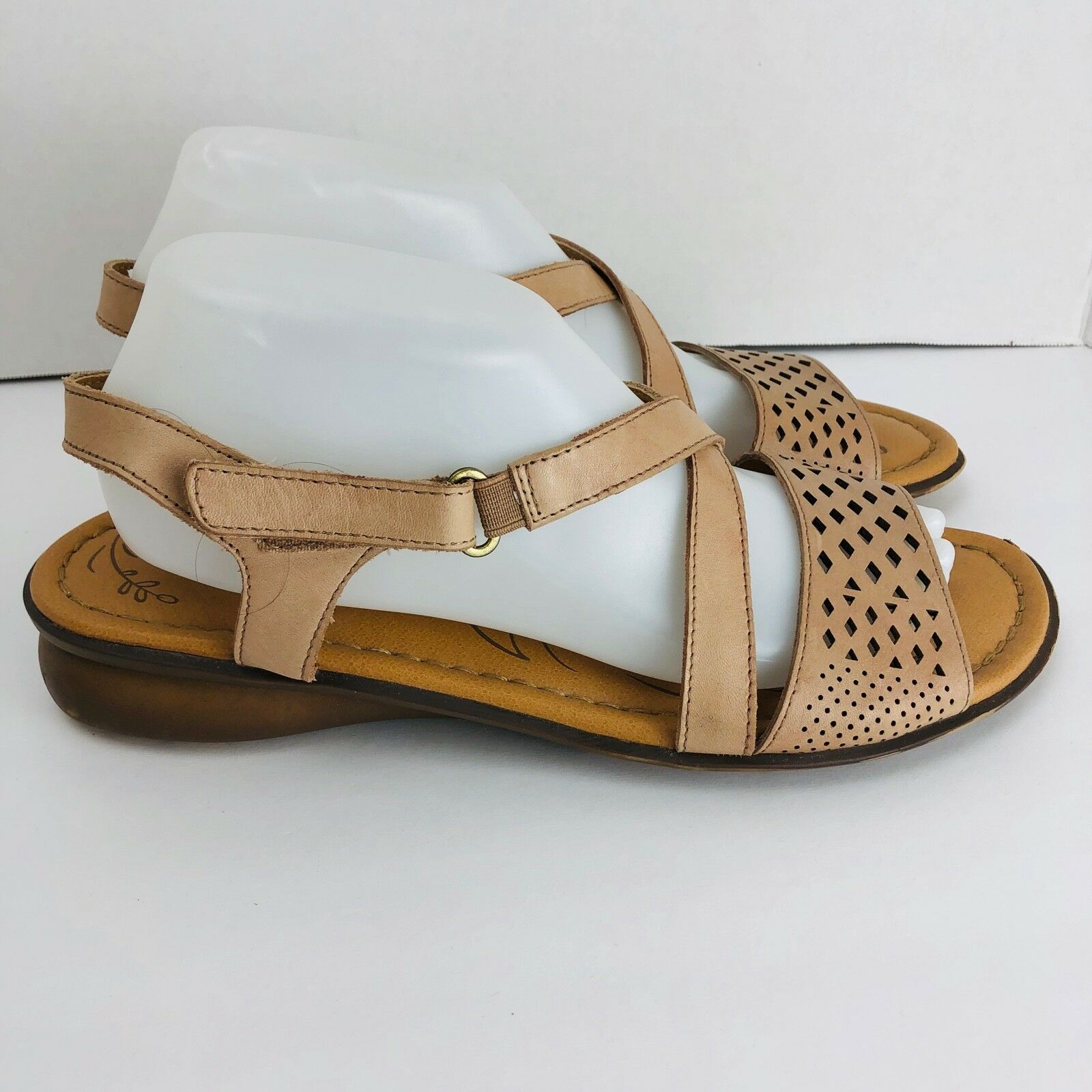 d06a3a596334 Naturalizer Janessa Gingersnap Beige Leather Strappy Sandals Size 10 N Shoe  for sale online