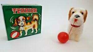 Vintage-Mechanical-Wind-Up-Toy-Mechanical-Terrier-with-Red-Ball