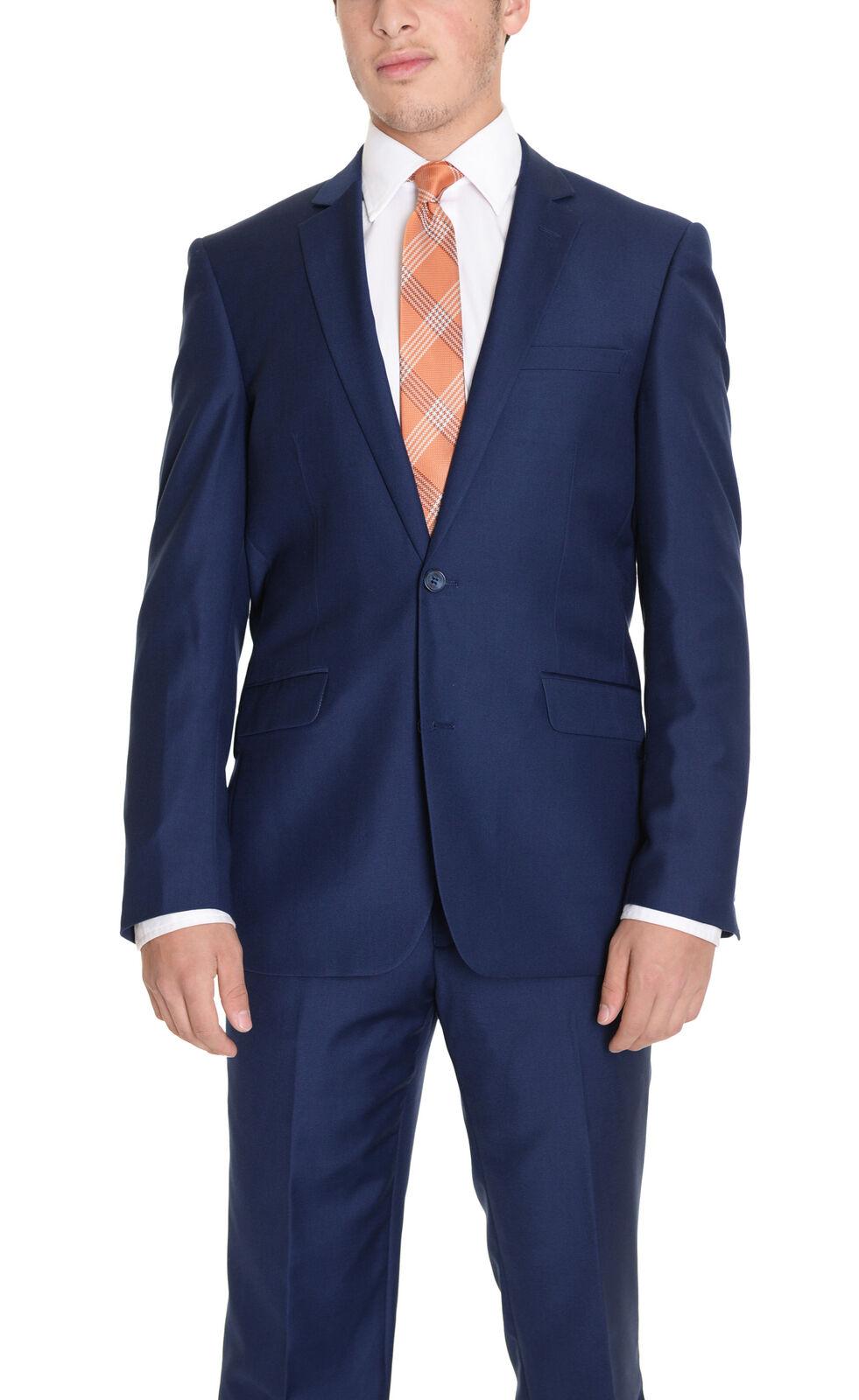 Mens 54L Raphael Regular Fit Solid Blau Two Button Suit