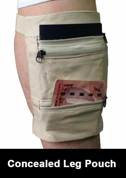 Beige Travel Hidden Money Holder Clip ID Card Passport Conceal Leg Wallet