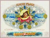 Snow flake Beautiful Child Vintage Cigar Box Tobacciana Crate Label Art Poster