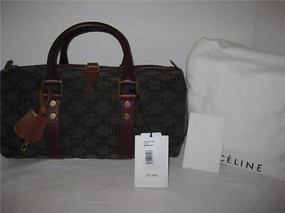 NEW CELINE Logo Canvas Leather Brown Red Round Tote Bag Satchel Handbag Purse