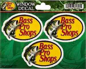 3 bass pro shops small sticker each fishing decal. Black Bedroom Furniture Sets. Home Design Ideas