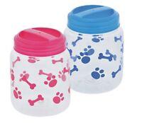 Plastic Paw Print & Bone Design Treat Jar Snack Food For Pet Dog Pink Or Blue