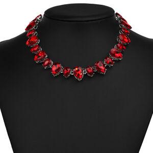 Strass-rot-Tropfen-Glamour-Design-Kette-Halskette-Collier-Silber-plattiert-neu