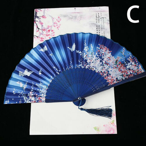 Retro Chinese Silk Bamboo Folding Fan Hand Held Dancing Party Flower Painting