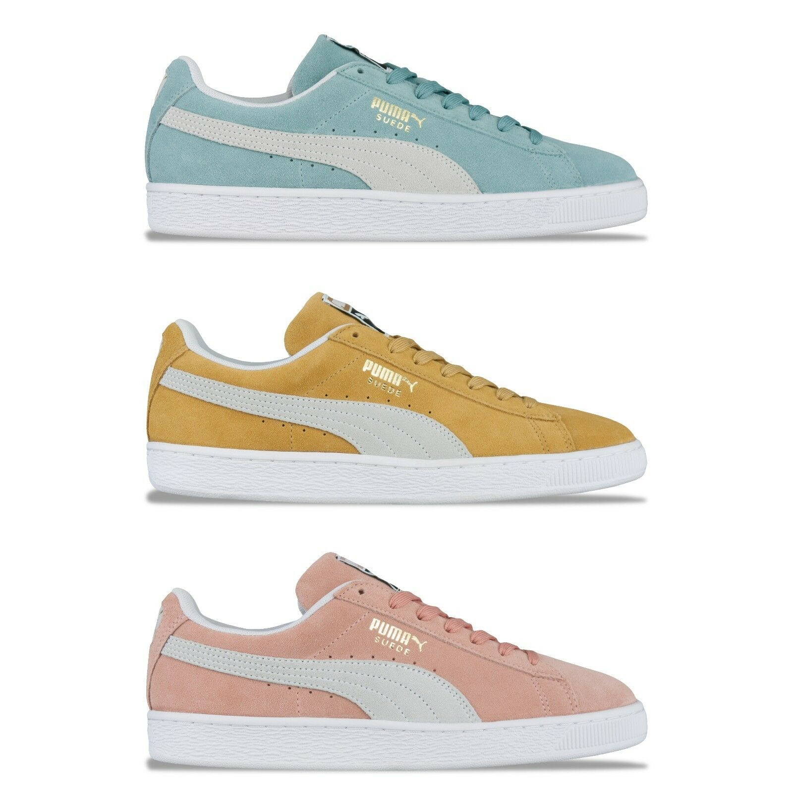PUMA SUEDE CLASSIC TRAINERS - PUMA SUEDE 365347 - PASTEL PINK, blueE, YELLOW