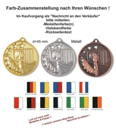 Massive geprägte Medaillen Handball mit Band & Text (Staffelpreise 25-50-75-100)