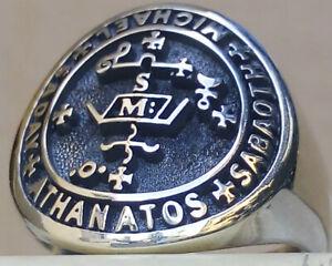 Solomon Seal Tetragrammaton Kabbalah Amulet Handmade 3D Ring Solid Sterling Silver 925