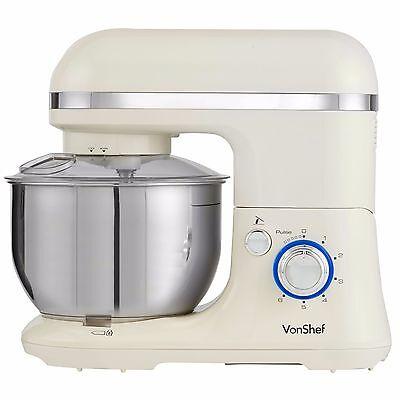 VonShef Stand Mixer Food Blender 650W Electric Machine with Splash Guard - Cream