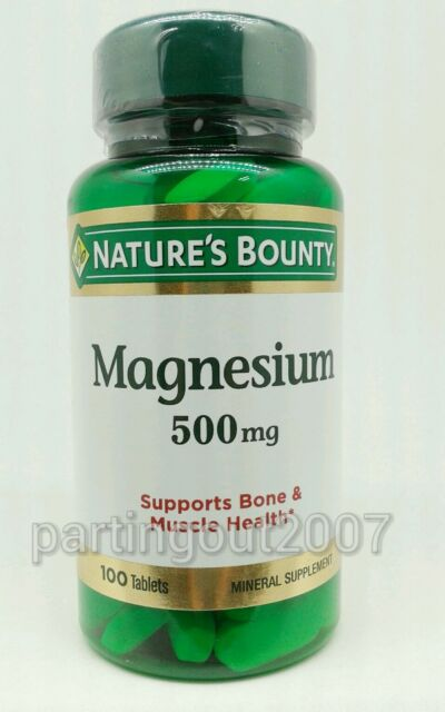 Magnesium Nature's Bounty 500 mg 100 Coated Caplets Bone  Muscle Health New
