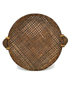 Vtg-Large-Bamboo-Rattan-Wicker-Gathering-Winnowing-Round-Bowl-Basket-w-Handles