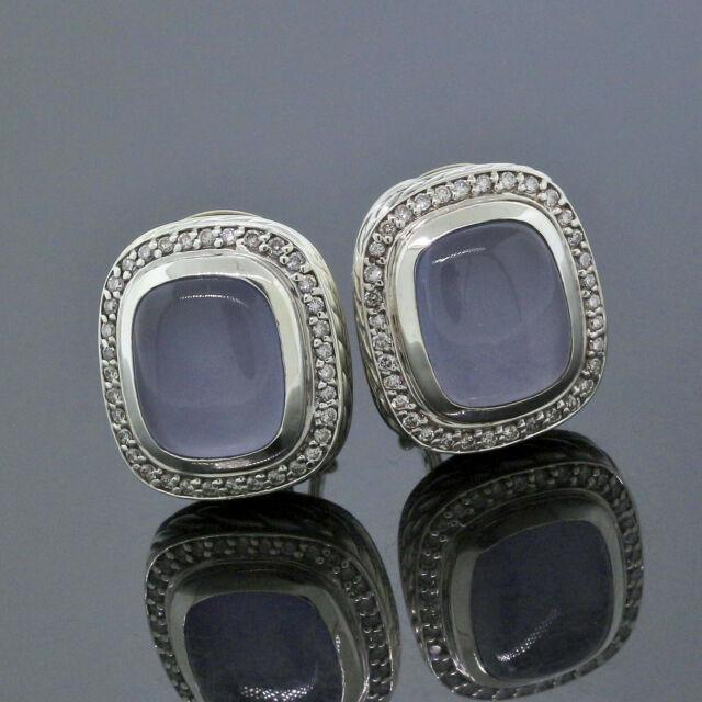 David Yurman Sterling Silver Diamond 10mm-12mm Blue Chalcedony Albion Earrings