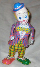 """Tin Multicolor 8"""" Dancing Clown With Drum Sticks Toy Collectable"""