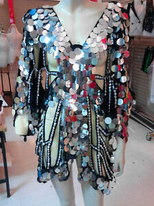 silver Sequin Cover up Drag Queen butterfly Dance dress