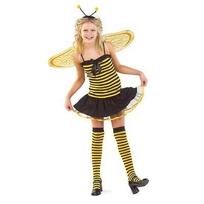 NWT Charades Honey Bee Costume Girls L 10-12 Wings Headband Stockings Halloween