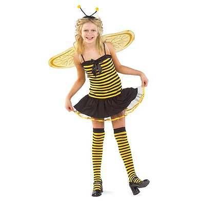 NWT Charades Honey Bee Costume Girls L 10-12 Wings Headband Stockings Halloween