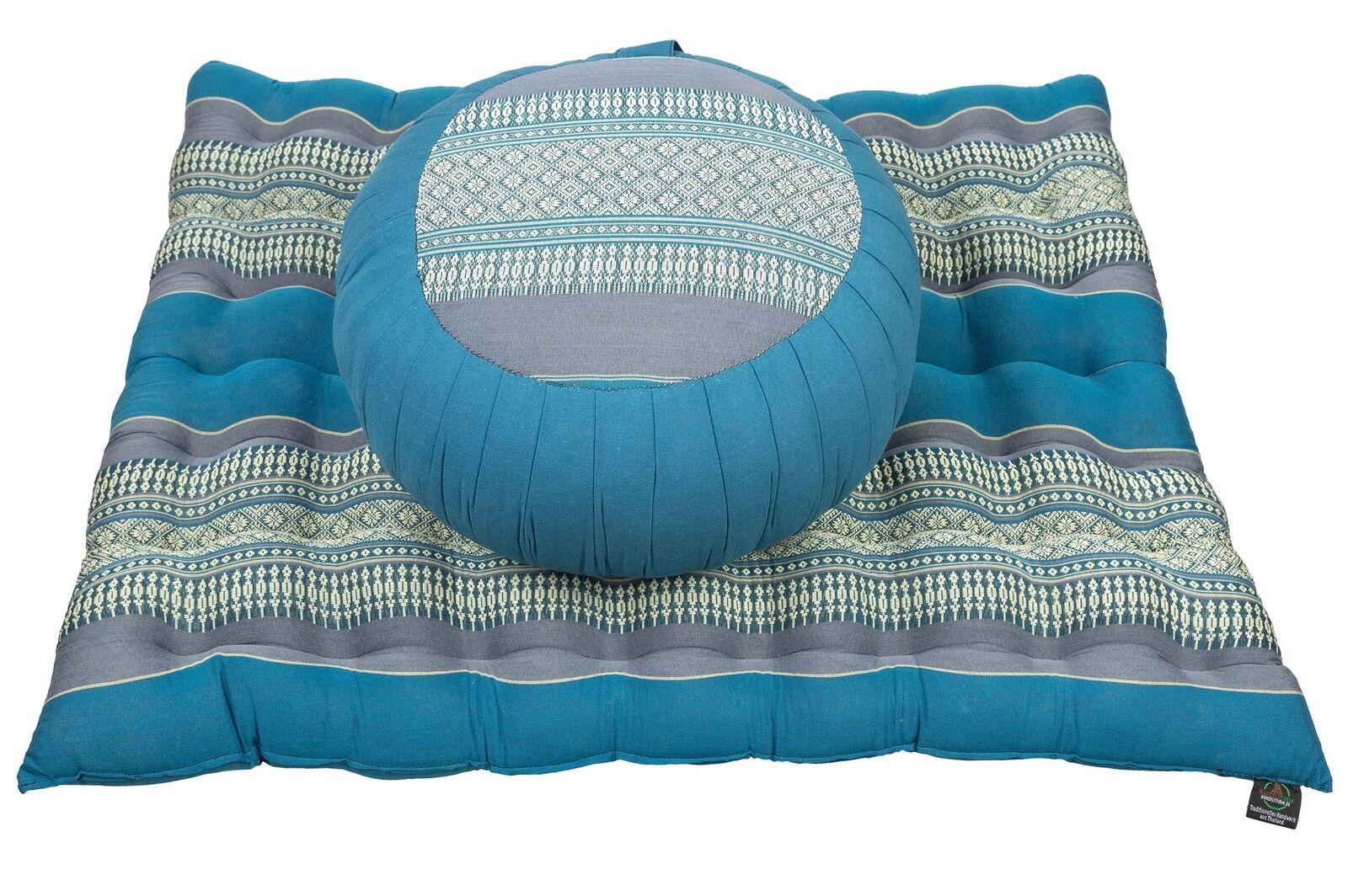 Zafu round Pillow + Zabuton Mat Meditation Seat Set Set Set Natural Kapok Filling Firm Z 6afa67