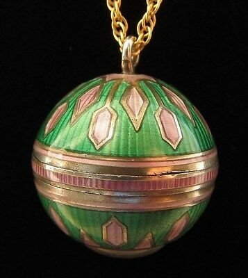 VINTAGE ART DECO STERLING CLOISONNE ENAMEL BALL PENDANT WATCH NECKLACE