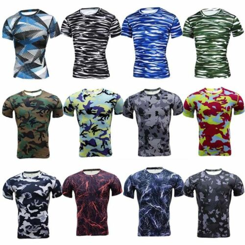 Men/'s Workout Compression Shirt Gym Running Base Layer Short Sleeve Tops Camo