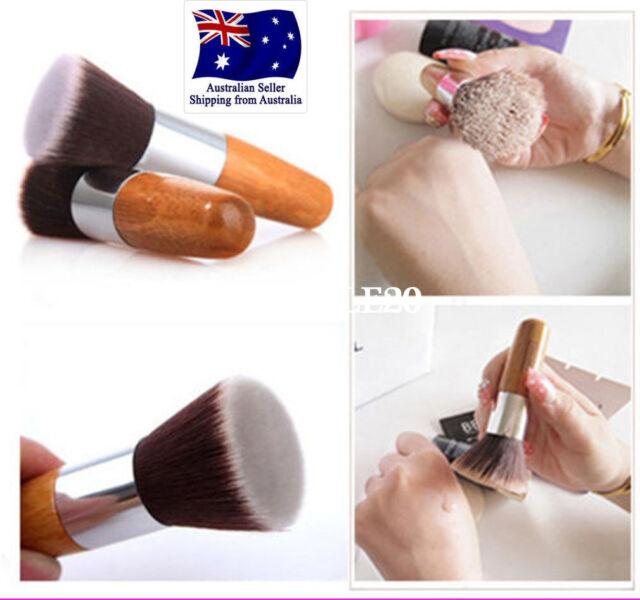 Bamboo Makeup Flat Top Kabuki Brush Multipurpose Powder Buffing Foundation Brush