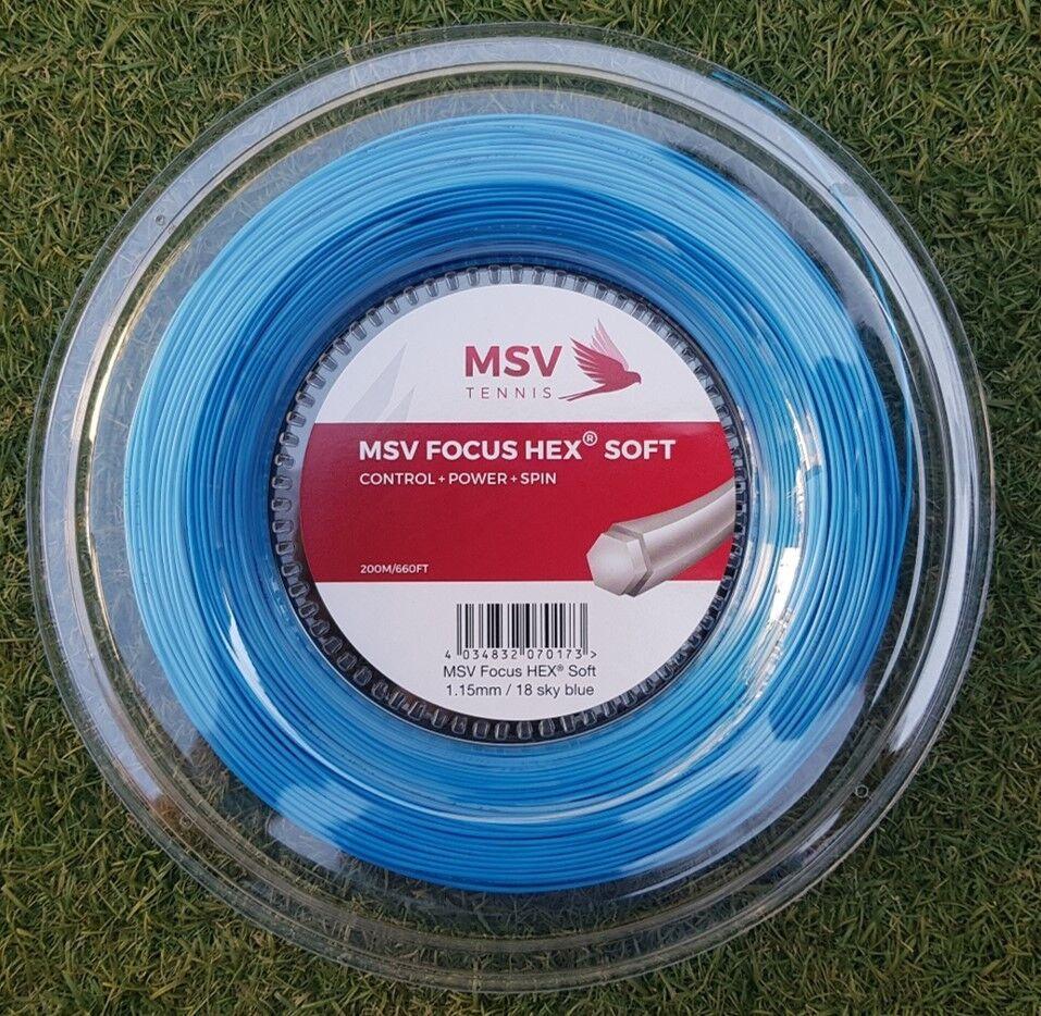 MSV Tennis string FOCUS HEX SOFT (1.15mm 18G) 200meter Reel (NEW, GENUINE)