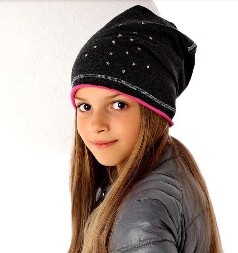 Mädchen Wintermütze Beanie Baumwolle Mütze Kinder AJS Neu Graphit Rosa