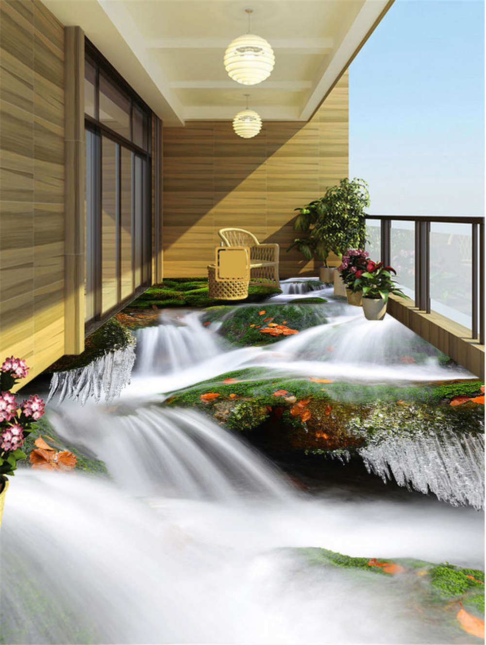 Rushing Waterfalls 3D Floor Mural Photo Flooring Wallpaper Home Print Decoration
