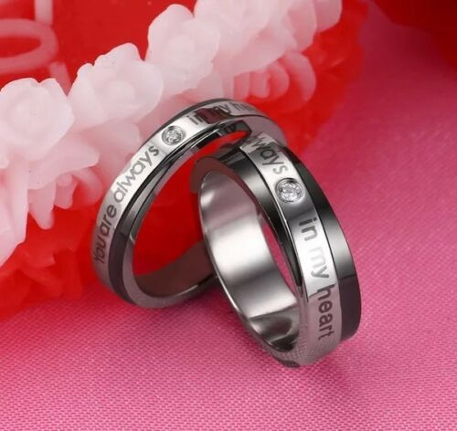 """Couples Stainless Steel Promise Ring Wedding Band /"""" You Are Always In My Heart /"""""""