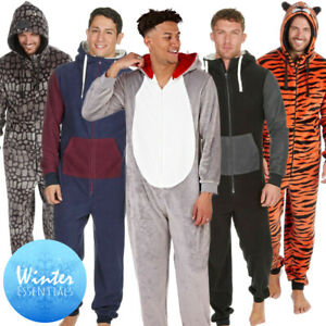 Mens 1Onesie Animal Hooded Novelty Boys All in One PJs Grey Soft Fleece Adult UK