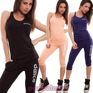 20035175e291 Caricamento dell'immagine in corso Tuta-donna-fitness-sport-pantaloni-capri- palestra-vogatore-