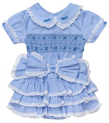 "Aurora Royal /"" Duchess Rose /"" Girls Blue 2 Piece Hand-Smocked Set.LIMITED"