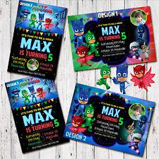 Item 3 Personalised PJ MASK Birthday Invitations Invites Party Photo Superhero