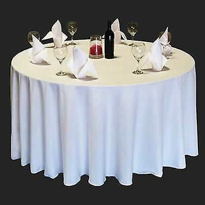 """10 x 120"""" inch WHITE ROUND TABLE LINEN CLOTH BRAND NEW 5ft & 6ft TABLECLOTH"""