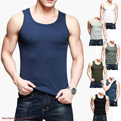 Mens Tank Top Bodybuilding Tee Gym Athletic Vest Stretch Skinny Plain 8 Colors