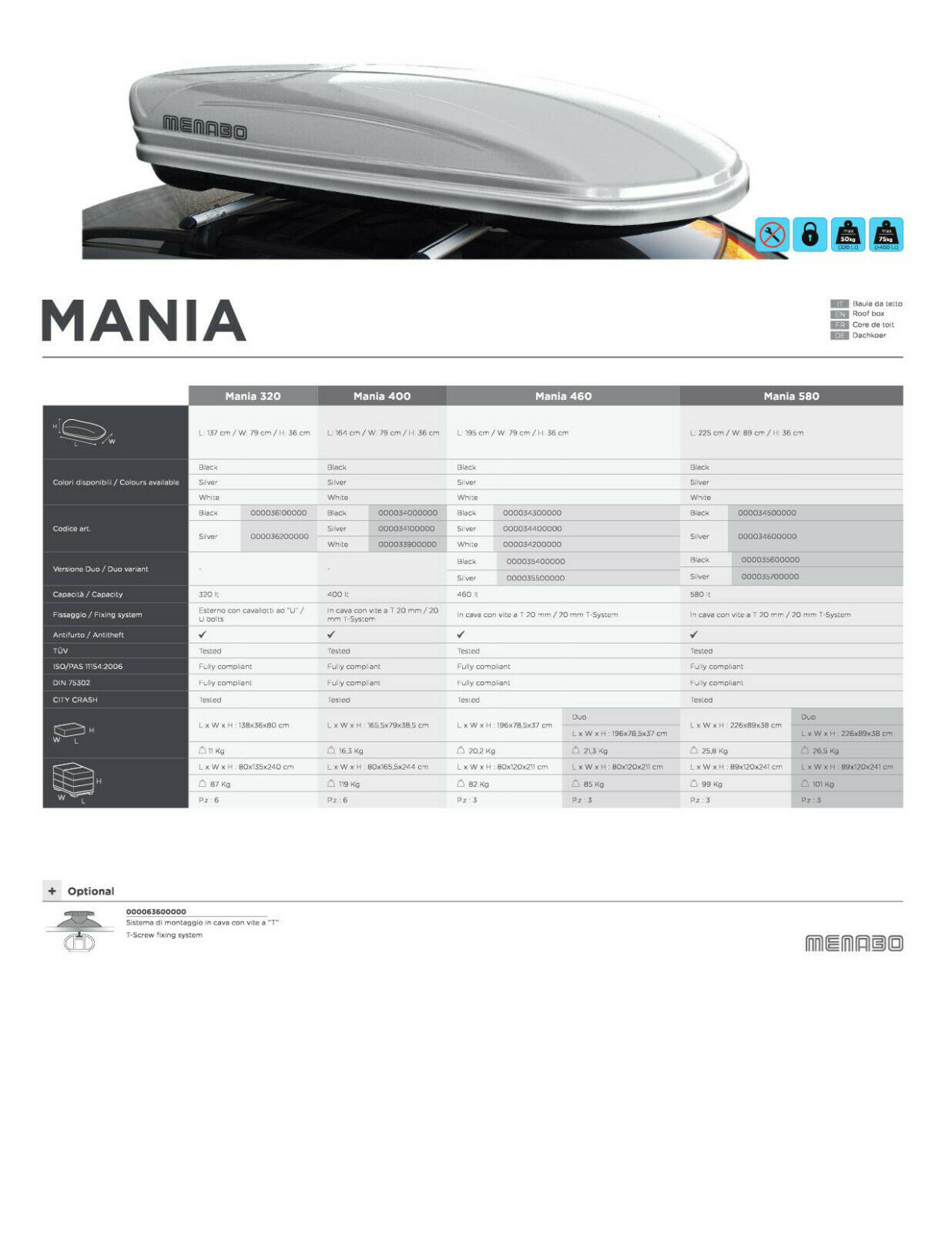 Coffre de toit 400L Menabo Mania Noir