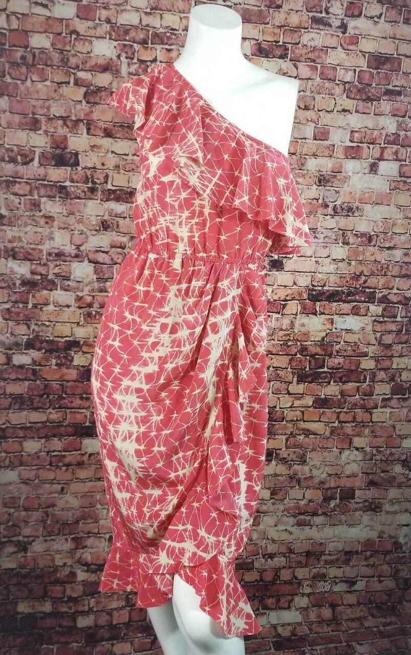 Gryphon  Rosa Ivory One-Shoulder Asymmetrical Ruffled Wrap Dress Größe XS
