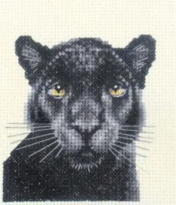 all materials WILD CAT BLACK PANTHER Full cross stitch kit BIG CAT *Fido